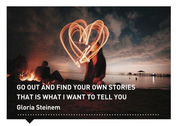 Verhalen(d) Veranderen kaart quote Gloira Steinem